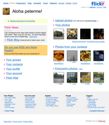 flickr.com screen grab with sitemap