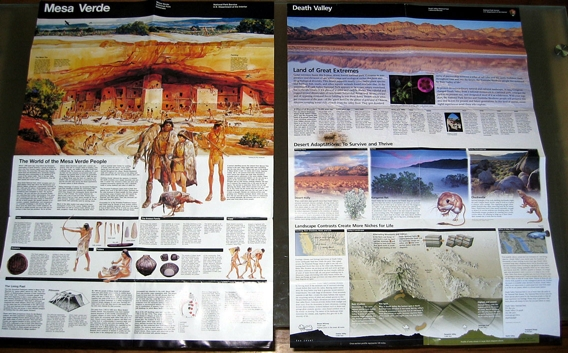 Mesa Verde and Death Valley brochures, side by side